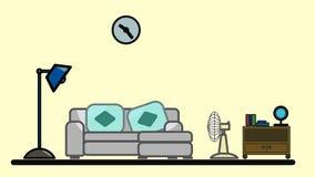 Interior de la sala de estar Diseño de un cuarto acogedor con el sofá, estante, lámpara, fan Vector foto de archivo libre de regalías