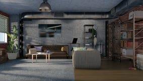 Interior de la sala de estar en diseño del apartamento 3D del desván ilustración del vector