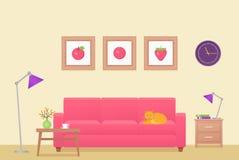 Interior de la sala de estar Ilustración del vector Diseño plano stock de ilustración