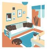 Interior de la sala de estar por completo de los muebles cómodos y de las decoraciones caseras - sofá, tabla, plantas de la casa, stock de ilustración