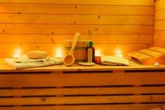 Interior de la sauna y accesorios de la sauna Imágenes de archivo libres de regalías