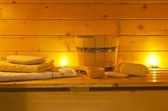 Interior de la sauna y de los accesorios fotografía de archivo