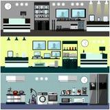 Interior de la tienda de los productos electrónicos de consumo Ilustración colorida del vector Elementos y banderas del diseño en stock de ilustración