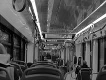 Interior de la tranvía en B/W imagen de archivo libre de regalías