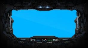 Interior de la ventana del vehículo espacial ilustración del vector