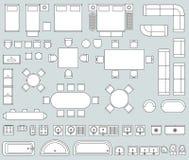 Interior de la visión superior con la línea sistema del vector de los iconos de los muebles stock de ilustración