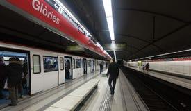 Interior de las glorias de la estación de metro en Barcelona fotos de archivo libres de regalías