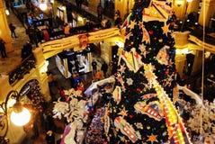Interior de las vacaciones de invierno de la tienda de la GOMA, Moscú, Rusia Imagenes de archivo