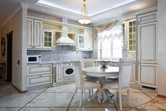Interior de lujo de la cocina Foto de archivo libre de regalías