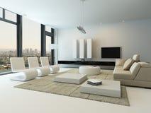 Interior de lujo de la sala de estar con las ventanas enormes Fotografía de archivo libre de regalías