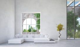 Interior de lujo de la sala de estar del condominio stock de ilustración