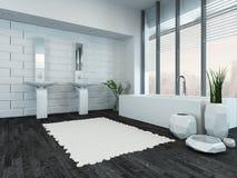 Interior de lujo moderno del cuarto de baño con la bañera imagen de archivo