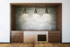 Interior de madeira da cozinha Foto de Stock Royalty Free