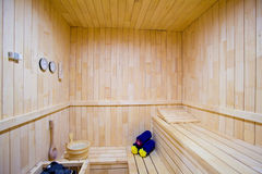 Interior de madeira da sauna Fotos de Stock Royalty Free