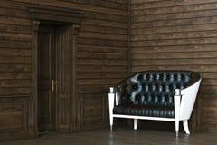 Interior de madeira luxuoso novo com sofá de couro 3d rendem Foto de Stock