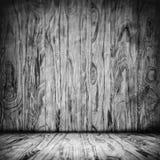 Interior de madeira preto da sala do Grunge Foto de Stock Royalty Free