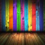 Interior de madera de la casa de la pared de la vendimia colorida Imagenes de archivo