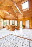 Interior de madera del sitio de Sun de la pared Fotos de archivo libres de regalías