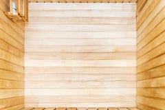 Interior de madera de la sauna Fotos de archivo libres de regalías