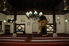 Interior de Masjid Kampung Hulu en Malaca, Malasia Imagen de archivo libre de regalías