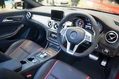 Interior de Mercedes-Benz CLA45AMG en el Singapur Motorshow 2015 Imágenes de archivo libres de regalías