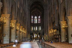 Interior de Paris Notre Dame Fotografia de Stock Royalty Free