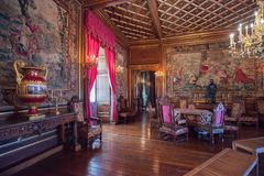 Interior de Pau Castle (castillo francés de Pau), Francia Imágenes de archivo libres de regalías