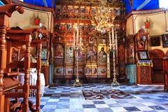 Interior de Profitis Ilias Monastery en Grecia Imagen de archivo libre de regalías
