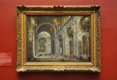 Interior de Saint Peter, Roma, por Panini fotografia de stock
