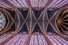 Interior de Sainte-Chapelle, Paris, França Fotografia de Stock Royalty Free