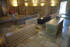 Interior de seda del samarkanda del alminar de la tumba del mausoleo del amira del timura del rastro fotos de archivo