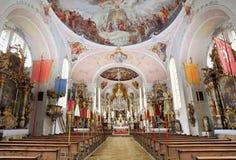 Interior de St Peter St Paul Church, Oberammergau, Alemania Imagen de archivo libre de regalías