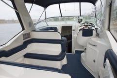 Interior de um barco de motor Foto de Stock