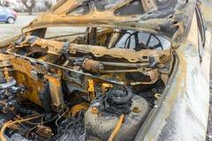 Interior de um carro para fora queimado Imagem de Stock Royalty Free