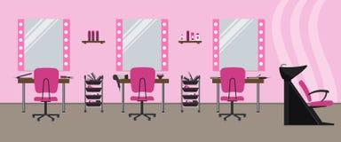 Interior de um salão de beleza do cabeleireiro em uma cor cor-de-rosa Salão de beleza de beleza ilustração royalty free