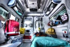 Interior de um salvamento HDR da ambulância fotografia de stock royalty free