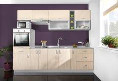 Interior de uma cozinha moderna, mobília de madeira, simples e limpo imagem de stock