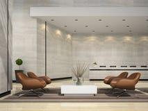 Interior de uma ilustração da recepção 3D do hotel Fotografia de Stock Royalty Free