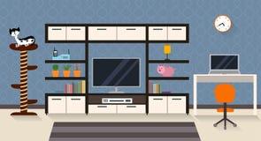 Interior de uma sala de visitas com mobília, tevê e um gato bonito ilustração royalty free