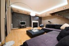 Interior de uma sala de visitas espaçoso luxuosa com chaminé moderna Fotografia de Stock Royalty Free