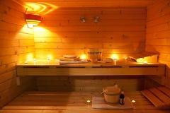 Interior de uma sauna finlandesa Fotografia de Stock