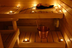 Interior de uma sauna finlandesa Imagem de Stock