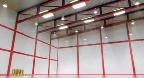 Interior de un almacén vacío con la construcción del color Imágenes de archivo libres de regalías