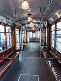 Interior de un carro de la tranvía Imágenes de archivo libres de regalías