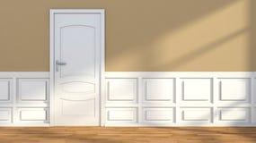 Interior de un cuarto con la puerta clásica Fotografía de archivo