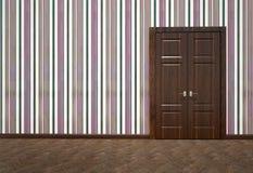 Interior de un cuarto con una puerta Imágenes de archivo libres de regalías