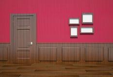 Interior de un cuarto con una puerta Fotos de archivo
