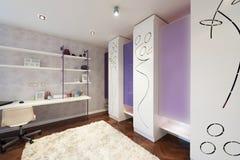 Interior de un cuarto moderno con el armario moderno Imagenes de archivo