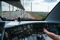 Interior de un taxi del ` s del operador del tren foto de archivo libre de regalías