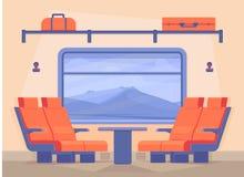 Interior de un tren de pasajeros moderno dentro El viajar en tren a lo largo del ferrocarril en comodidad Estilo plano del vector stock de ilustración